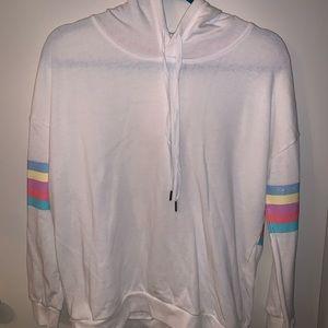 Pink Rose hoodie w/ rainbow stripe!